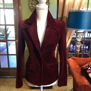 Old Navy Maroon Stretch Velvet Blazer Jacket XS
